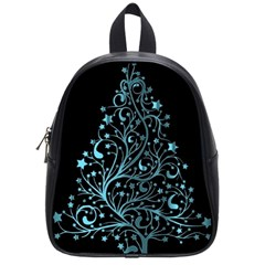 Elegant Blue Christmas Tree Black Background School Bags (small)  by yoursparklingshop