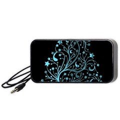 Elegant Blue Christmas Tree Black Background Portable Speaker (black)