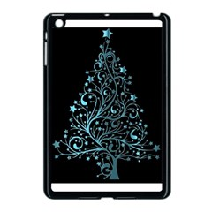 Elegant Blue Christmas Tree Black Background Apple Ipad Mini Case (black)