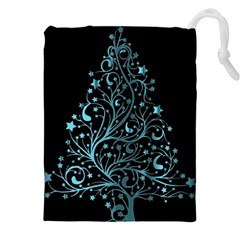 Elegant Blue Christmas Tree Black Background Drawstring Pouches (xxl)