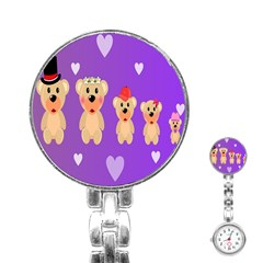Happy Bears Cute Stainless Steel Nurses Watch