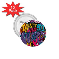 Face Weird Monster 1 75  Buttons (10 Pack)