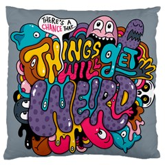 Face Weird Monster Large Flano Cushion Case (one Side) by AnjaniArt