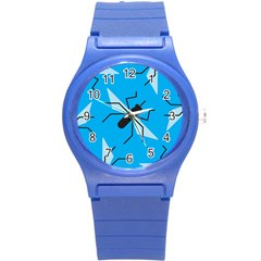 Mosquito Blue Black Round Plastic Sport Watch (s) by AnjaniArt