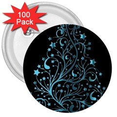 Elegant Blue Christmas Tree Black Background 3  Buttons (100 Pack)