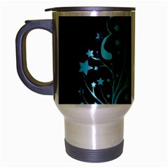 Elegant Blue Christmas Tree Black Background Travel Mug (silver Gray)