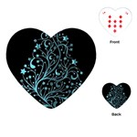 Elegant Blue Christmas Tree Black Background Playing Cards (Heart)  Front