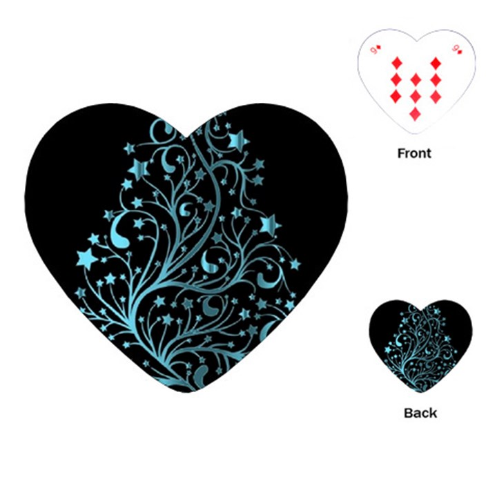 Elegant Blue Christmas Tree Black Background Playing Cards (Heart)