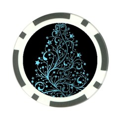 Elegant Blue Christmas Tree Black Background Poker Chip Card Guards by yoursparklingshop