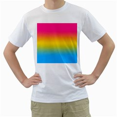 Pink Orange Green Blue Men s T Shirt (white) (two Sided)