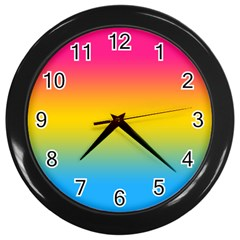 Pink Orange Green Blue Wall Clocks (black) by AnjaniArt