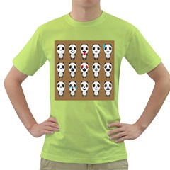 Panda Emoticon Green T Shirt