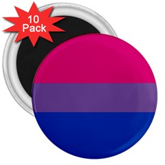 Pink Purple Blue Flag 3  Magnets (10 Pack)