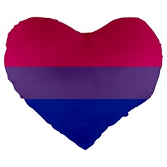 Pink Purple Blue Flag Large 19  Premium Heart Shape Cushions by AnjaniArt