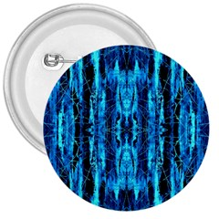 Bright Blue Turquoise  Black Pattern 3  Buttons by Costasonlineshop
