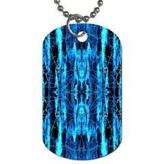 Bright Blue Turquoise  Black Pattern Dog Tag (two Sides)