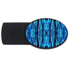 Bright Blue Turquoise  Black Pattern Usb Flash Drive Oval (4 Gb)  by Costasonlineshop