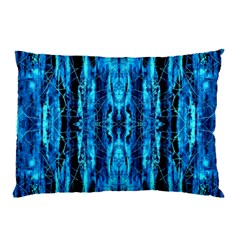 Bright Blue Turquoise  Black Pattern Pillow Case by Costasonlineshop