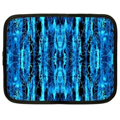 Bright Blue Turquoise  Black Pattern Netbook Case (xl)  by Costasonlineshop