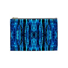 Bright Blue Turquoise  Black Pattern Cosmetic Bag (medium)  by Costasonlineshop