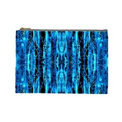 Bright Blue Turquoise  Black Pattern Cosmetic Bag (large)  by Costasonlineshop