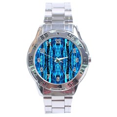 Bright Blue Turquoise  Black Pattern Stainless Steel Analogue Watch by Costasonlineshop