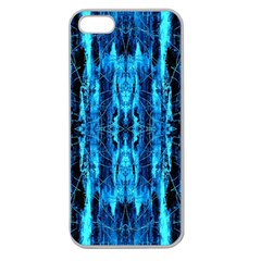 Bright Blue Turquoise  Black Pattern Apple Seamless Iphone 5 Case (clear) by Costasonlineshop
