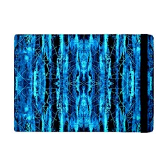 Bright Blue Turquoise  Black Pattern Apple Ipad Mini Flip Case by Costasonlineshop