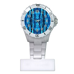 Bright Blue Turquoise  Black Pattern Plastic Nurses Watch by Costasonlineshop