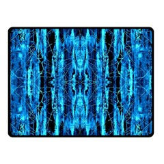 Bright Blue Turquoise  Black Pattern Double Sided Fleece Blanket (small)  by Costasonlineshop
