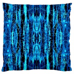 Bright Blue Turquoise  Black Pattern Standard Flano Cushion Case (one Side) by Costasonlineshop
