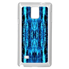 Bright Blue Turquoise  Black Pattern Samsung Galaxy Note 4 Case (white) by Costasonlineshop