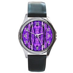 Bright Purple Rose Black Pattern Round Metal Watch by Costasonlineshop