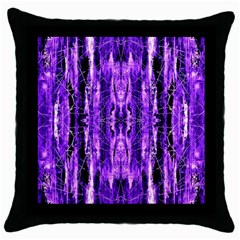 Bright Purple Rose Black Pattern Throw Pillow Case (black) by Costasonlineshop