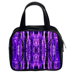 Bright Purple Rose Black Pattern Classic Handbags (2 Sides) by Costasonlineshop