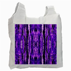 Bright Purple Rose Black Pattern Recycle Bag (two Side)  by Costasonlineshop