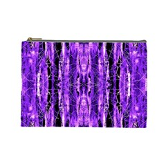 Bright Purple Rose Black Pattern Cosmetic Bag (large)  by Costasonlineshop