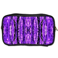 Bright Purple Rose Black Pattern Toiletries Bags by Costasonlineshop