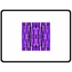Bright Purple Rose Black Pattern Fleece Blanket (large)