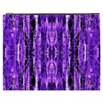 Bright Purple Rose Black Pattern Cosmetic Bag (XXXL)  Front