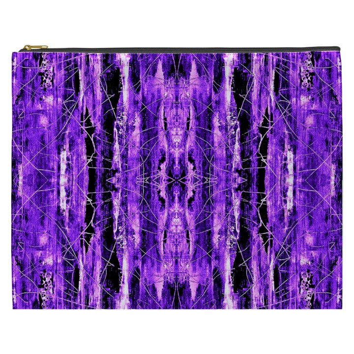 Bright Purple Rose Black Pattern Cosmetic Bag (XXXL)