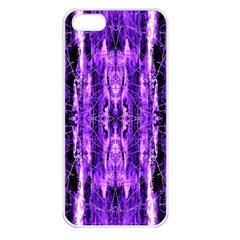 Bright Purple Rose Black Pattern Apple Iphone 5 Seamless Case (white) by Costasonlineshop