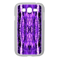 Bright Purple Rose Black Pattern Samsung Galaxy Grand Duos I9082 Case (white)