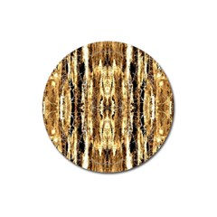Beige Brown Back Wood Design Magnet 3  (round) by Costasonlineshop