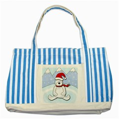 Polar Bear Striped Blue Tote Bag by Valentinaart