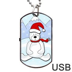 Polar Bear Dog Tag Usb Flash (one Side)