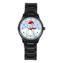 Polar Bear Stainless Steel Round Watch by Valentinaart