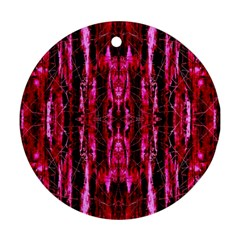 Pink Burgundy Traditional Pattern Ornament (round)  by Costasonlineshop