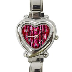 Pink Burgundy Traditional Pattern Heart Italian Charm Watch by Costasonlineshop