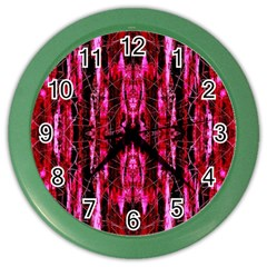 Pink Burgundy Traditional Pattern Color Wall Clocks by Costasonlineshop